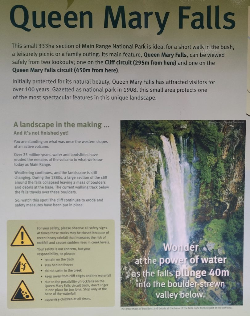 Queen Mary Falls sign